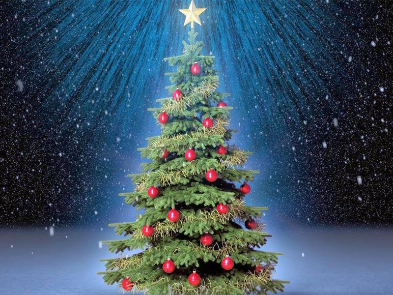 Im genes de navidad rbol de navidad con bolas rojas for Fotos arbol navidad