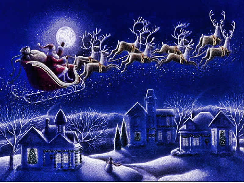 Imagen Papá Noel y renos de Navidad