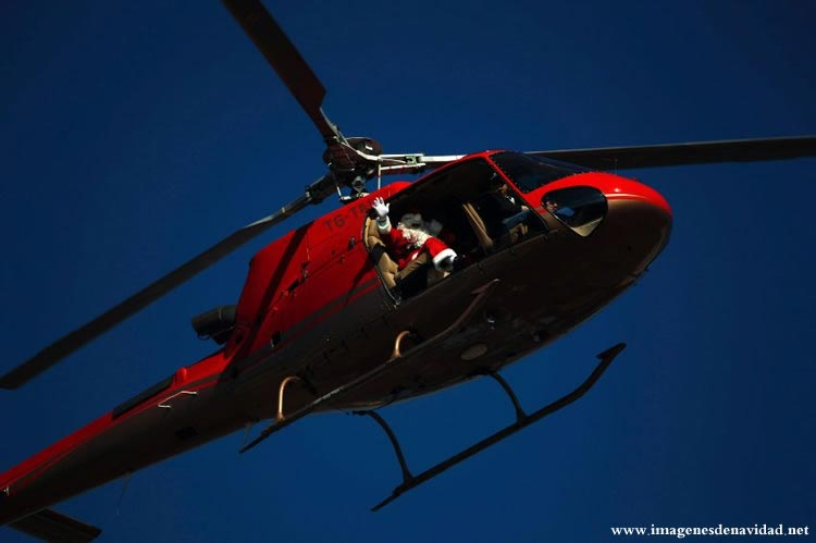 Imágenes Papá Noel: Papá Noel en helicóptero